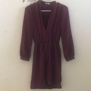 Burgundy Long Sleeves Dress